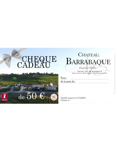Chèque Cadeau - Valeur 50 €